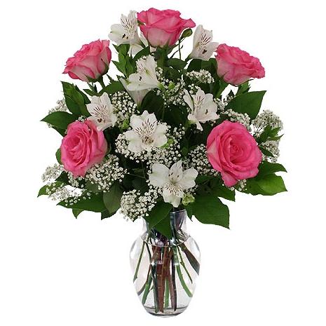 6 pink roses with seasonal flowers in vase delivery to philippines 6 pink roses with seasonal flowers in vase mightylinksfo