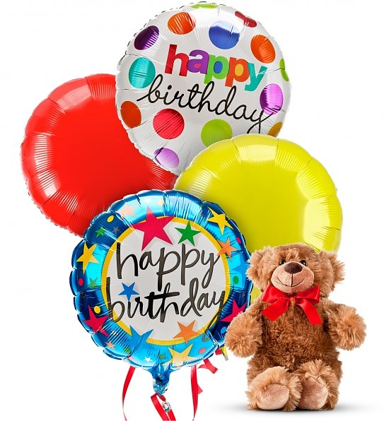 4 Pieces Happy Birthday Mylar Balloons With Bear