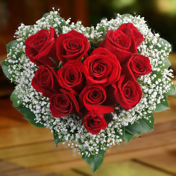 Order 12 Pieces Heart Shaped Red Roses to Philippines