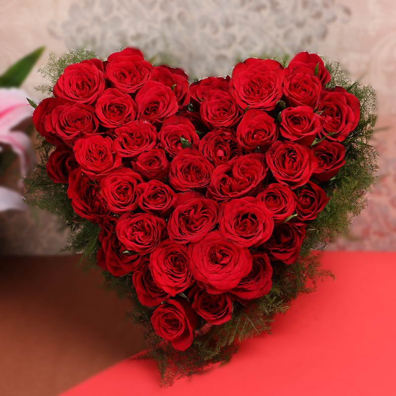 Delivery 3 Dozen Heart Shaped Red Rose in Bouquet to Philippines