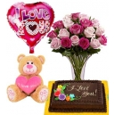 online valentines rose bear balloon with cake to philippines