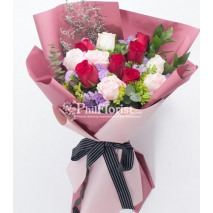 12 red & white roses bouquet to philippines
