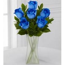 6 Blue Roses in Vase
