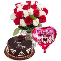 24 Red & White Roses Bouquet,Balloon with Cake Send to Philippines