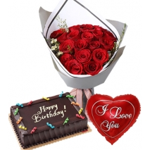 12 Red Roses Bouquet,Balloon with Cake Send to Philippines