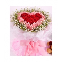 60 Red and Pink Carnations in Bouquet