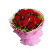 ​12 Red Carnations with Green leaves
