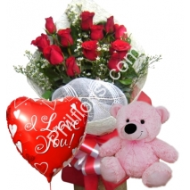 Send red rose bouquet pink bear with love you balloon to Philippines