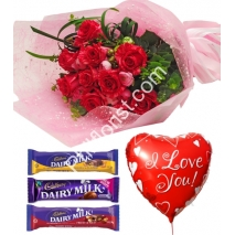 Send red roses cadbury chocolate with love you balloon to Philippines
