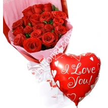 Send 24 red roses with love you balloon to Philippines