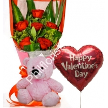 Send 6 red roses pink bear with Valentine balloon to Philippines