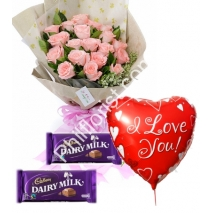 Send 12 Pink roses cadbury chocolate with love you balloon to Philippines