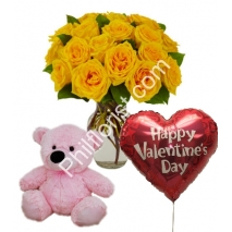 Send 12 yellow rose vase pink bear with valentines balloon to Philippines
