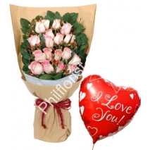 Send 24 pink roses with love you balloon to Philippines