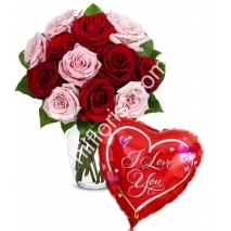 Send 12 pink & red rose vase with love you balloon to Philippines