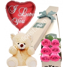 Send 6 pink roses box pink bear with balloon to Philippines