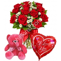 Send 12 red roses vase red bear with balloon to Philippines