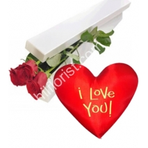 Send 2 red roses box with wesley heart shaped pillow to Philippines