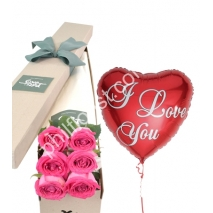 Send 6 pink roses box with balloon to Philippines