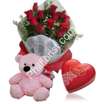 Send 12 red rose bouquet Pink bear with lindt chocolate box to Philippines