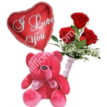 Send 3 red roses bouqet red bear With balloon to Philippines