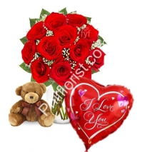 Send red rose vase small brown bear with love you balloon to Philippines