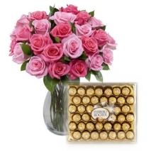 Send 12 Pink Roses in Vase with Ferrero Rocher- 40 pcs Chocolates to Philippines