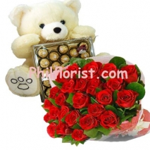 24 Red Roses,Ferrero Box w/ Teddy Bear to Philippines