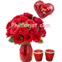 24 Red Roses Vase,Candles w/ Love You Balloon to Philippines