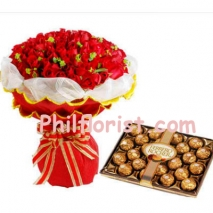 24 Red Roses Bouquet w/ Ferrero Rocher Chocolate to Philippines