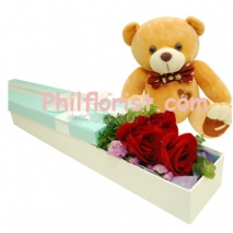 3 Red Roses in Box w/ Brown Teddy Bear Send to Philippines