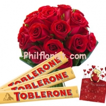 12 Red Roses Bouquet w/ Toblerone Chocolate to Philippines