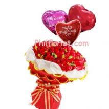 24 Red Roses Bouquet with Love You Balloons to Philippines