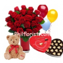 24 Red Roses Vase,Guylian Box,Balloons w/ Bear to philippines