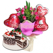 12 Pink Roses Bouquet,Love Balloon with Cake Send to Philippines