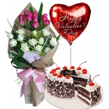 24 Pink & White Roses Bouquet,Balloon with Cake Send to Philippines