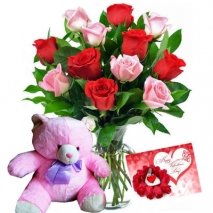 12 Red & Pink Roses Vase w/ Teddy Bear Send to Philippines