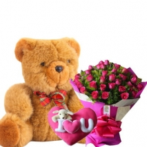 24 Pink Roses, Pillow and  Big Bear to Philippines