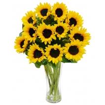 online 12 pieces sunflower in vase to philippines