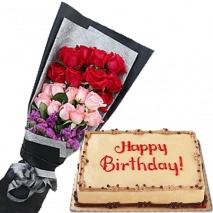 buy red pink roses in bouquet with cake to philippines