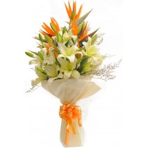 send white and orange lilies bouquet to philippines