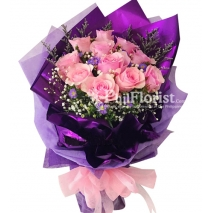 12 pink roses bouquet to philippines
