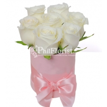 7 pcs White Roses in Box To Philippines
