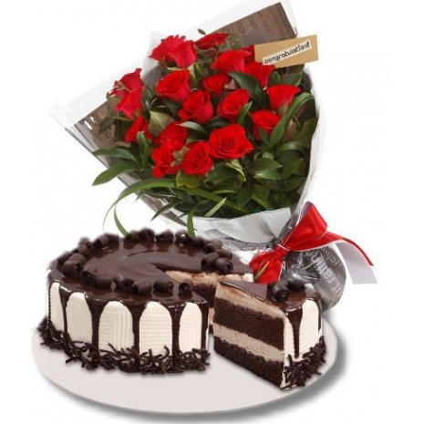 12 red roses with tiramisu cake to philippines