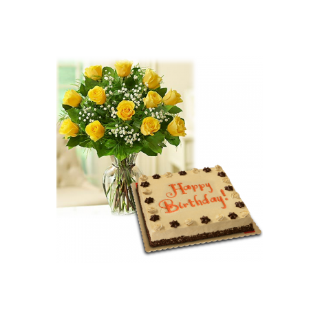 12 yellow roses with red ribbon cake to philippines