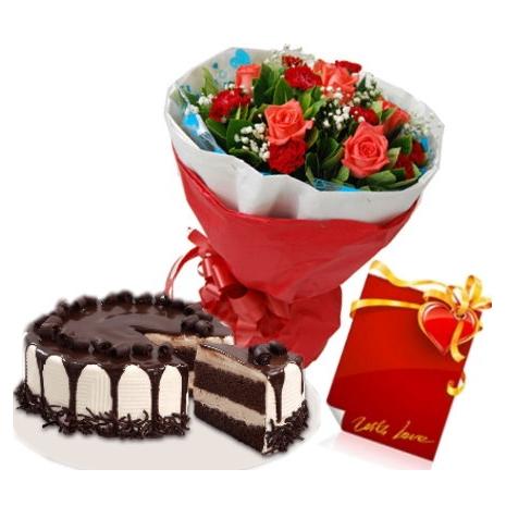 12 red roses with tiramisu meltdown cake to philflower
