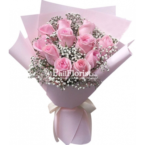12 light pink roses bouquet to philippines