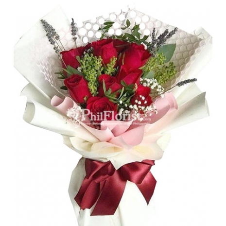 12 red roses bouquet to philippines