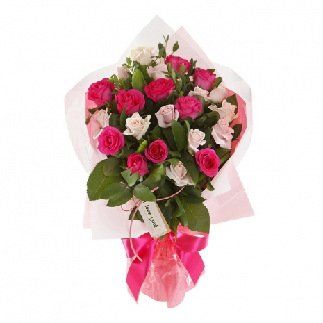 Send 24 pink & Light Pink Roses Bouquet to Philippines