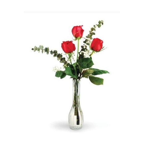 3 Red Roses in Wonderfull Vase